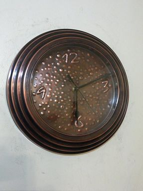Custom Made Hand Hammered Patina Copper Wall Clock