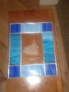 Custom Made Etched Glass Rendering Of The Church With A Stained Glass Border