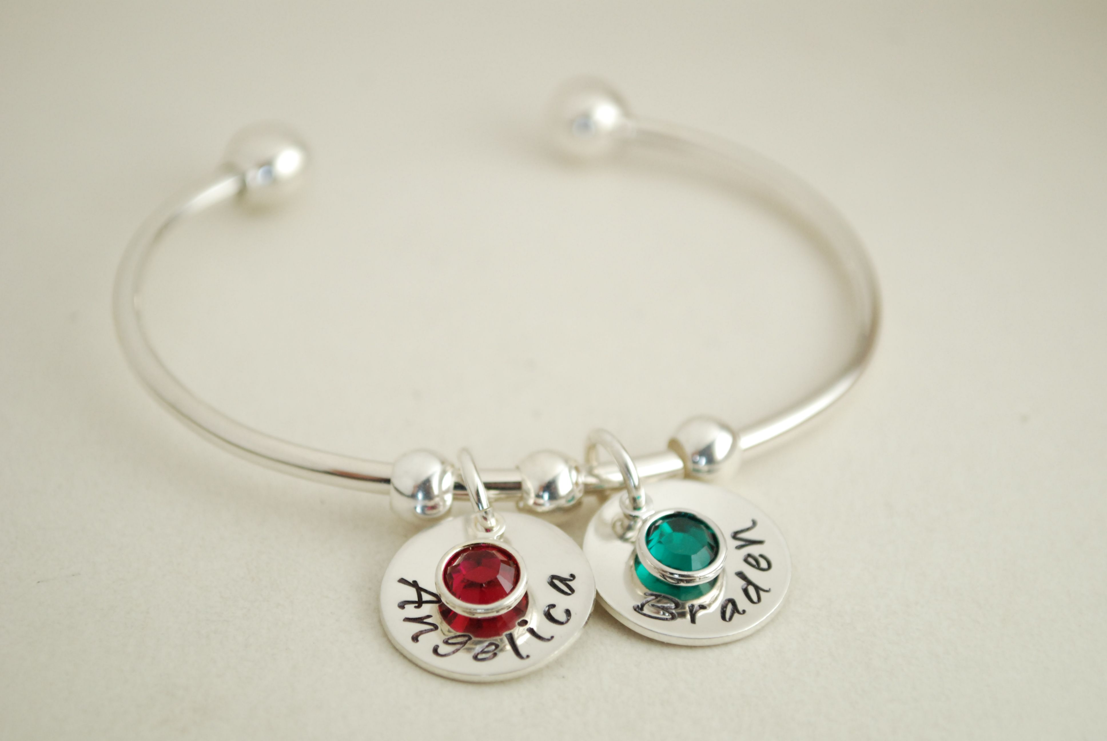 Custom Made Cuff Bracelet With Names Sterling Silver Personalized Bangle Name Charms And Birth Crystals