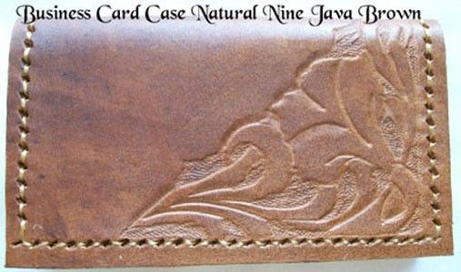 Custom Made Custom Leather Business Card Case With Natural 9 Design In Java Brown Color