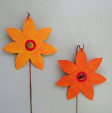 Custom Made Handmade Upcycled Metal Flower Garden Stakes In Orange And Yellow