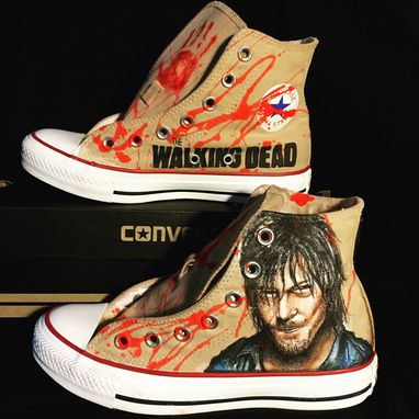 Custom Made The Walking Dead Hand Drawn Daryl Dixon Converse