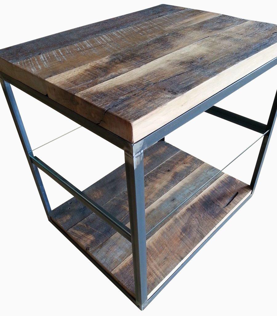 Custom Made Reclaimed Hardwoods In A Steel Frame W Glass Shelf End Table