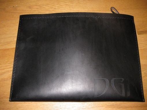 Custom Made Large Personalized Heavy Leather Slip Case With Zipper By Bsd Studios