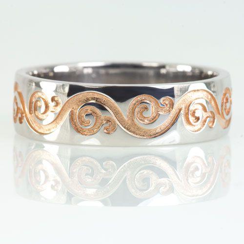 Custom Made Filigree Two Tone Vintage Style Wedding Band Rose White Gold Antique Ring Fl Swirl