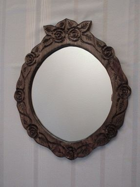 Custom Made Violet, The Small Rose-Carved Round Mirror
