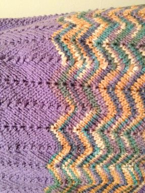 Custom Made Knit Baby Blanket - Purple Multi-Color Chevron Ripple