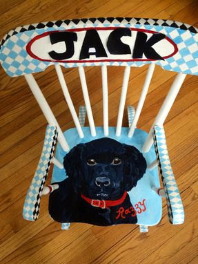 Custom Made Black Labrador Personalized Rocking Chair