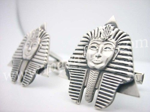 Custom Made Silver Egyptian Sphinx Pharaoh Cufflinks