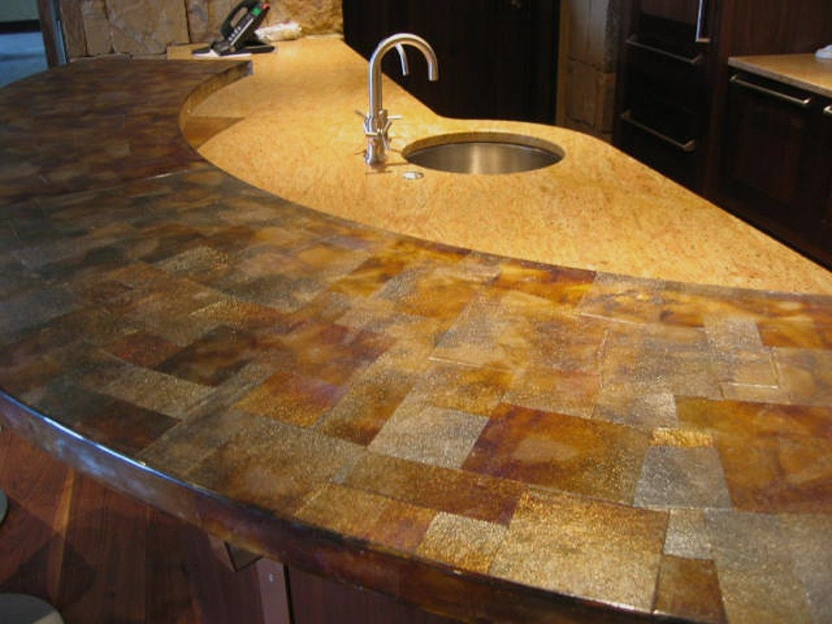 Handmade irridized bronze glass counter top by mark for Custom made kitchen countertops