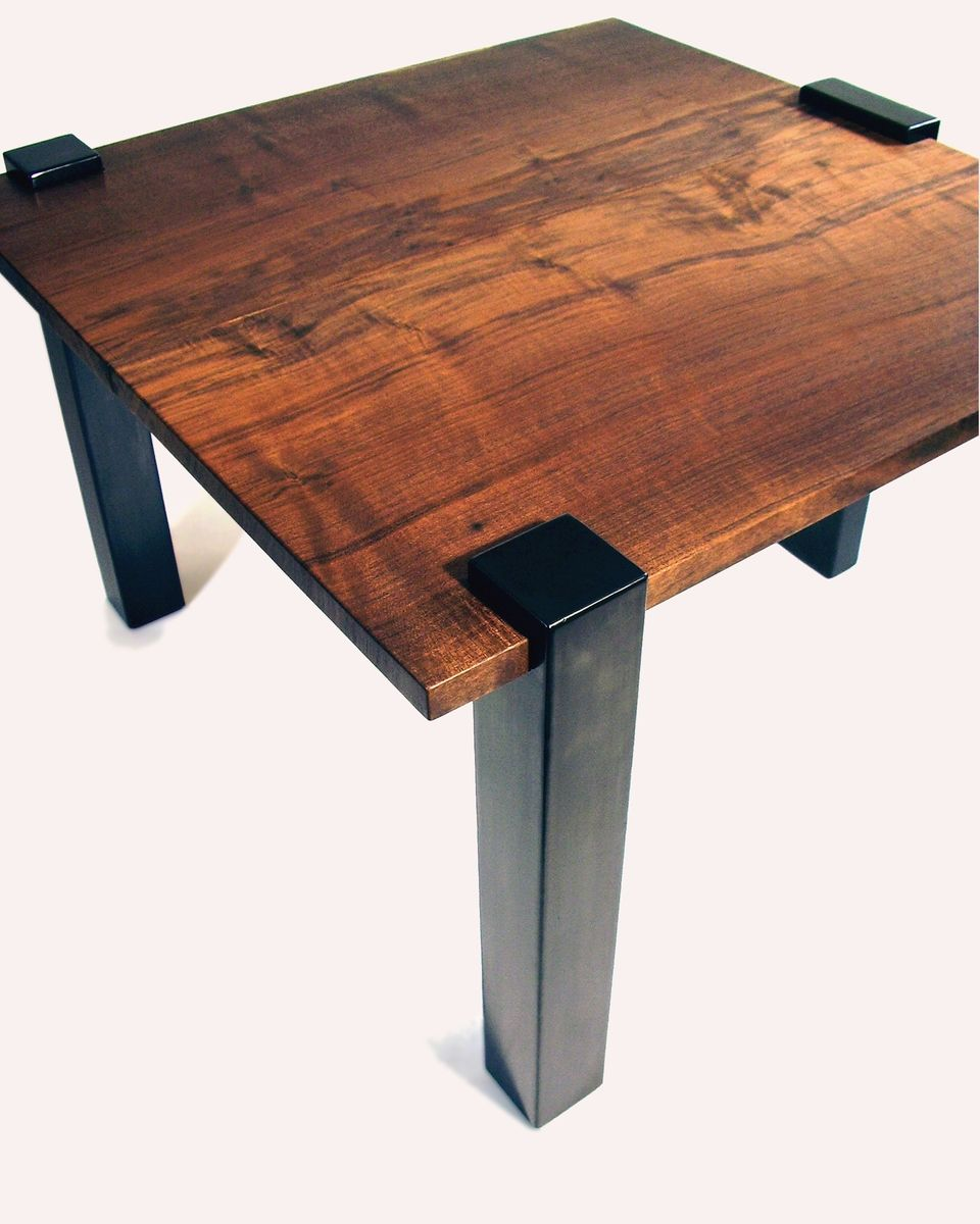 Hand crafted modern contemporary wood and steel end table