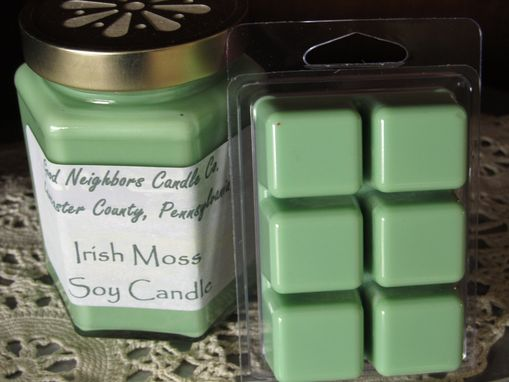 Custom Made Irish Moss Soy Candle And Melter Pack, 9 Ounce In Hexagon Jar, Daisy Cut Lid, Hemp Or Cotton Wick
