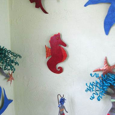 Custom Made Handmade Upcycled Metal Seahorse Wall Art Sculpture In Red