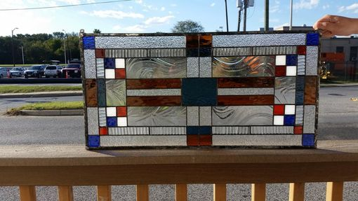 Custom Made White And Blue Rectangles-Stained Glass Panels(P-145)