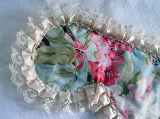 Custom Made Satin Lined Sleepmask - Retro Shabby Chic Blue Floral With Cream Lace Trim - Bath And Beauty