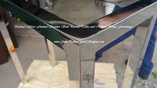Custom Made Mirror Finished Stainless Steel Parson's Table
