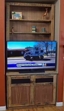 Custom Made Media Center And Display Cabinet, Reclaimed Wood