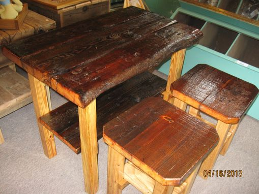 Custom Made Barnwood Table & Stools (Coated)