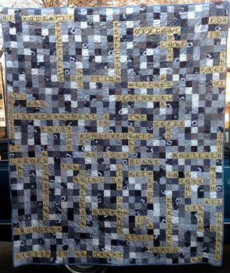 Custom Made Custom Scrabble Crossword Poetry Quilt