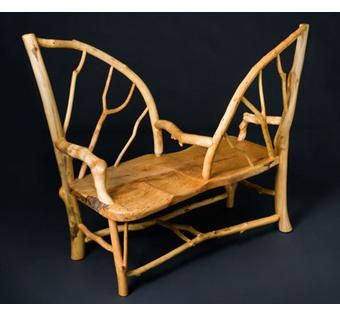 Hand Crafted Unique Maple Tete A Tete Settee by Rustic Wood ...