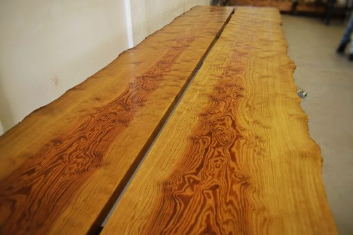 Custom Made Live Edge Curly Sinker Pine Dining Table