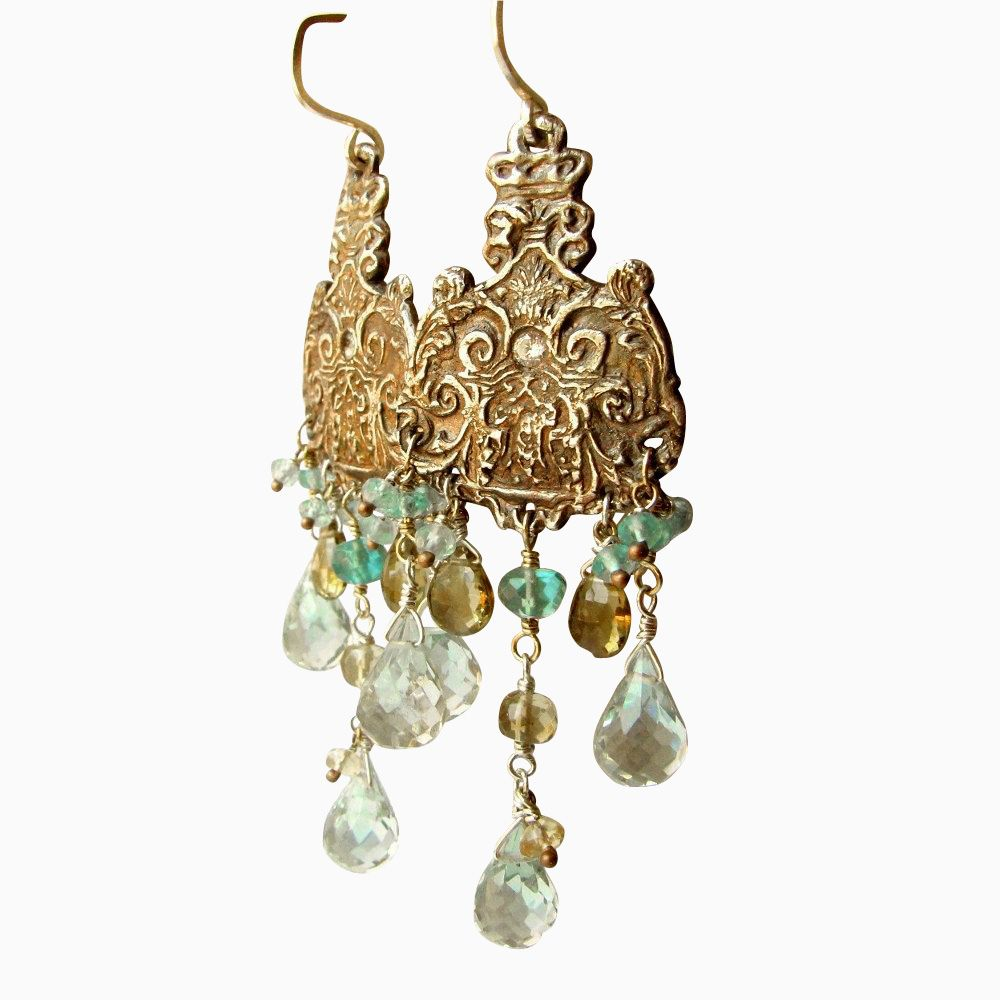 Buy hand made fine silver and gemstone chandelier earrings made to custom made fine silver and gemstone chandelier earrings arubaitofo Images