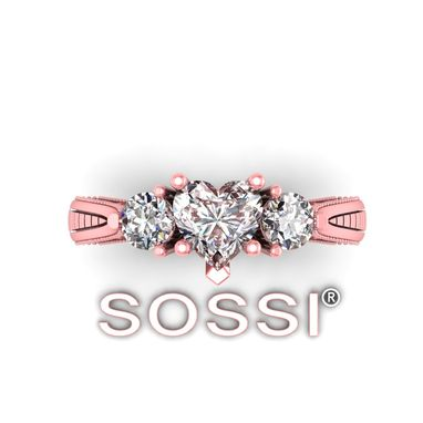 Custom Made Sossi 14k Heart Shape Engagement 1.13 Carat Diamond Rose Gold