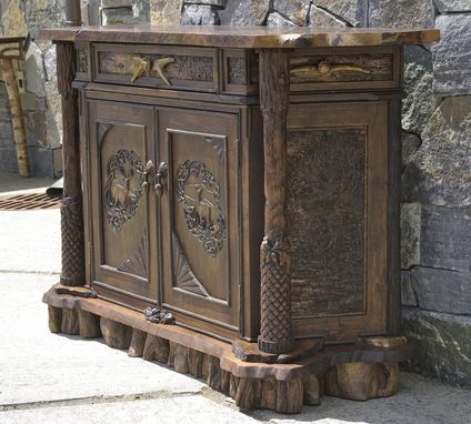 Custom Made Rustic Walnut Carved Cabinet