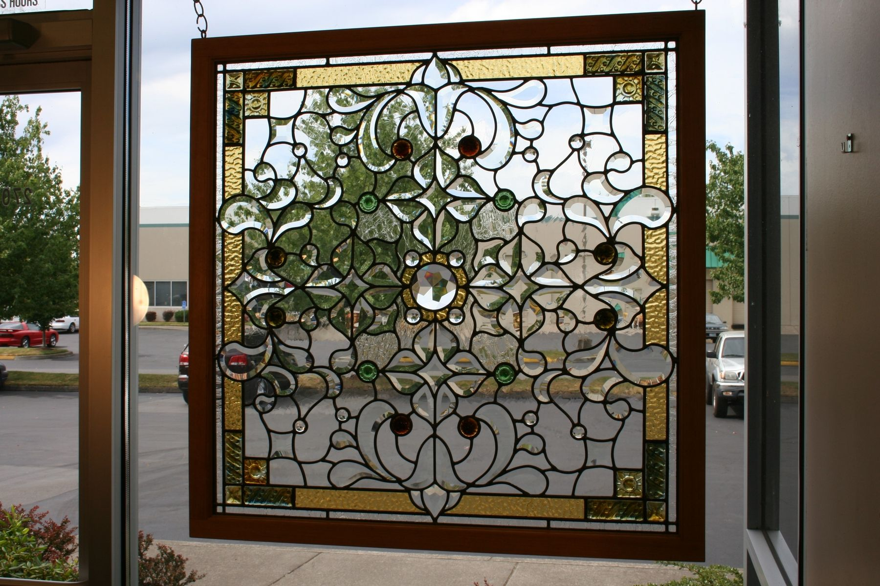 Custom made stained glass and beveled glass window by for Custom transom