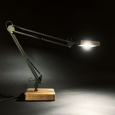 Custom Made Adjustable Wooden Desk Lamp With Brass Bowtie Touch Switch