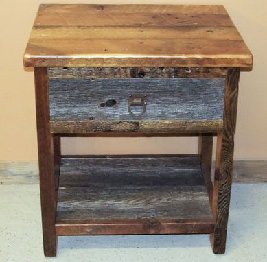 Custom Made Reclaimed Barn Wood Night Stand Two Tone