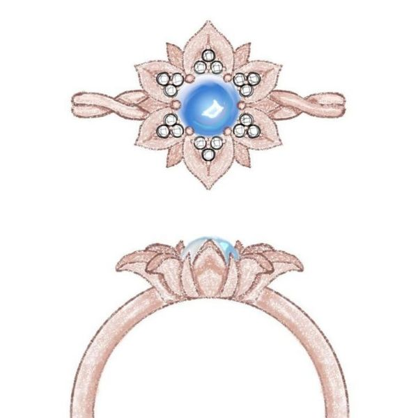 Sketches for a rose gold flower ring with a moonstone center and diamonds sprinkled on the petals.