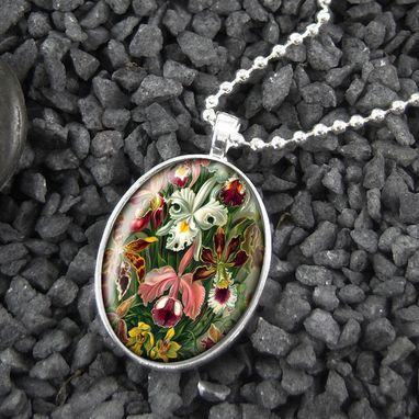 Custom Made Orchid & Iris Flower Floral Sterling Silver Pendant Necklace 182-Son