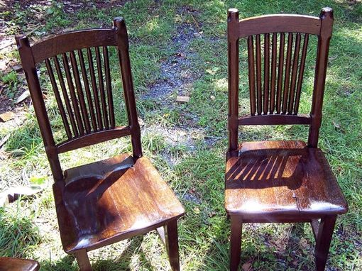 Custom Made Reclaimed Antique Oak Rustic Spindle Back Chairs
