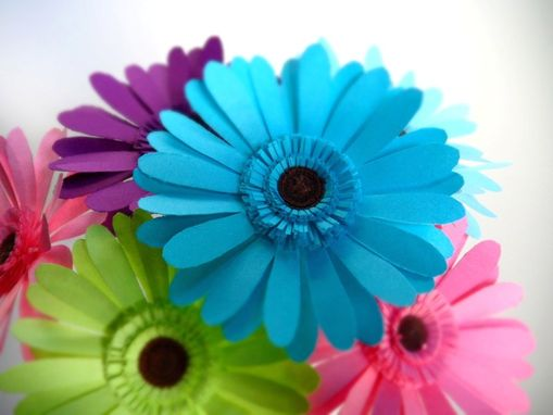 Custom Made Hippie Chic - Paper Gerber Daisies Bouquet