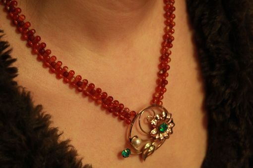 Custom Made Hand Woven Fiery Orange Agate Flower Necklace With Filigree Clasp