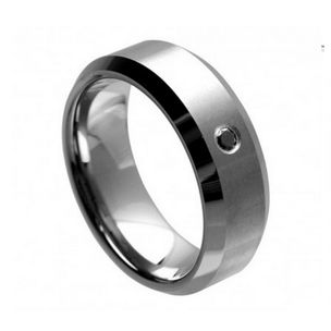 Mens Tungsten 8mm Wide Wedding Band With Black Diamond By