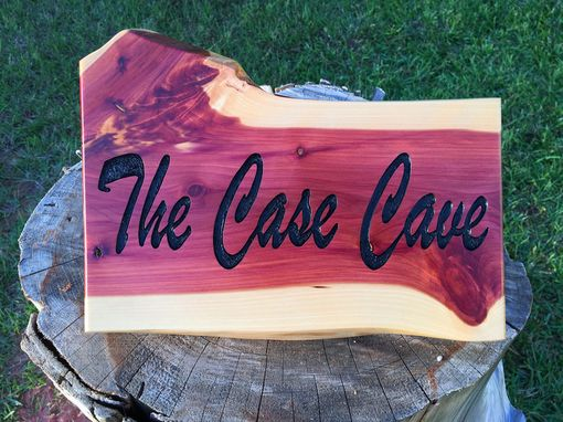 Custom Made Carved Live Edge Cedar Signs