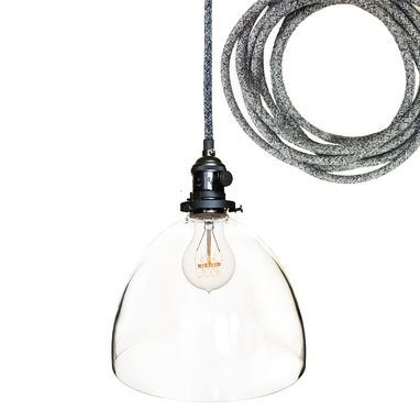 "Custom Made 8"" Clear Blown Glass Black Bare Pendant Light- Dark Sweater Cord"