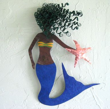 Custom Made Handmade Upcycled Metal Mystical Mermaid Wall Art Sculpture In Blue