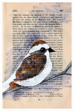 Custom Made Sparrow Print - Winter Theme Set Of 3 Bird And Tree Prints In 5x7 Size