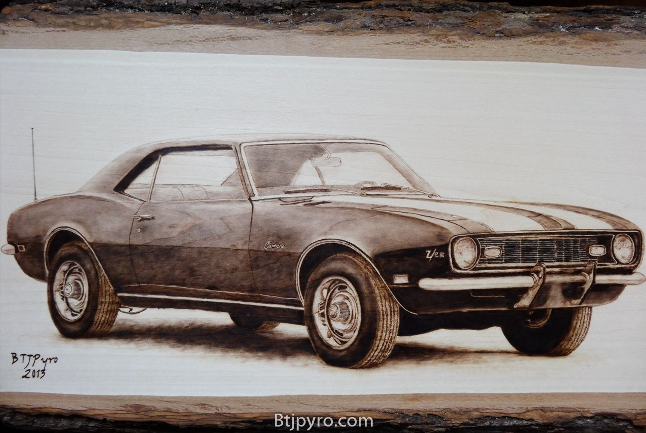 Hand Made 1968 Chevrolet Camaro Z 28 Woodburning By Btj Pyrography Custom
