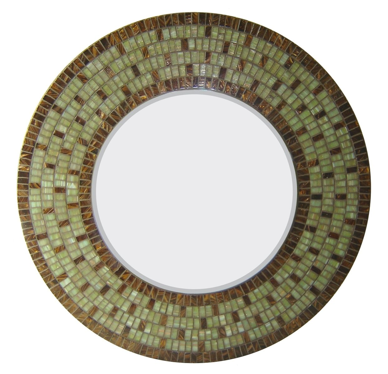Custom Made Round Mosaic Glass Wall Mirror By Opus Mosaics
