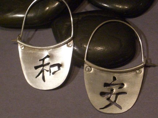Custom Made Kanji Earrings In Sterling Silver