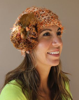 Custom Made Autumn Love, Fiber Art, Crochet Hat - Sold