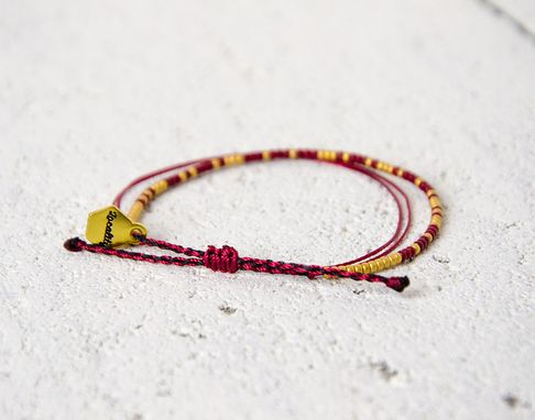 Custom Made Custom Morse Code Bracelet - Gold And Deep Red