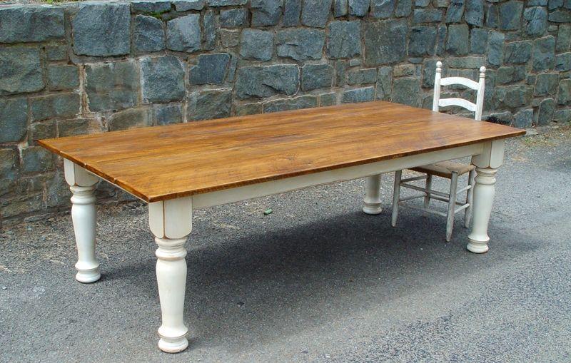 Custom Made Farm Table With Turned Legs