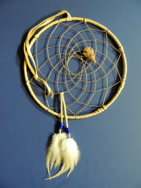 "Custom Made 9"" Dream Catcher, Handcrafted - Arrowhead - Buckskin Leather & Soft Feathers, Handcrafted Native American Decor"