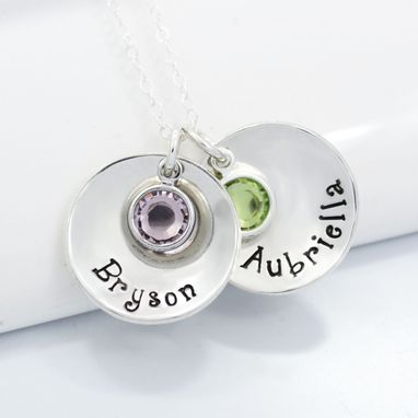 Custom Made Personalized Mother's Necklace Hand Stamped With Children's Names And Birthstones