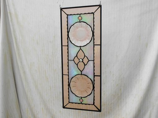 Custom Made Pink Cherry Blossom Depression Glass Stained Glass Plate Panel, Antique Stained Glass Window Transom